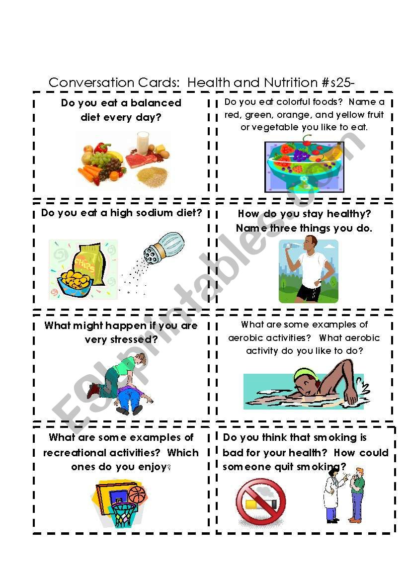 Conversation Cards:  Health and Nutrtion  #s 25-32