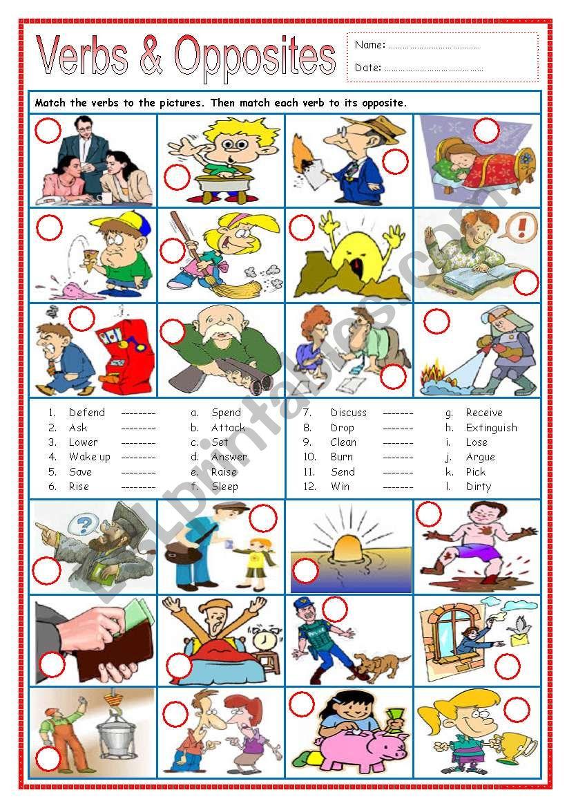 Verbs & Opposites 3 worksheet