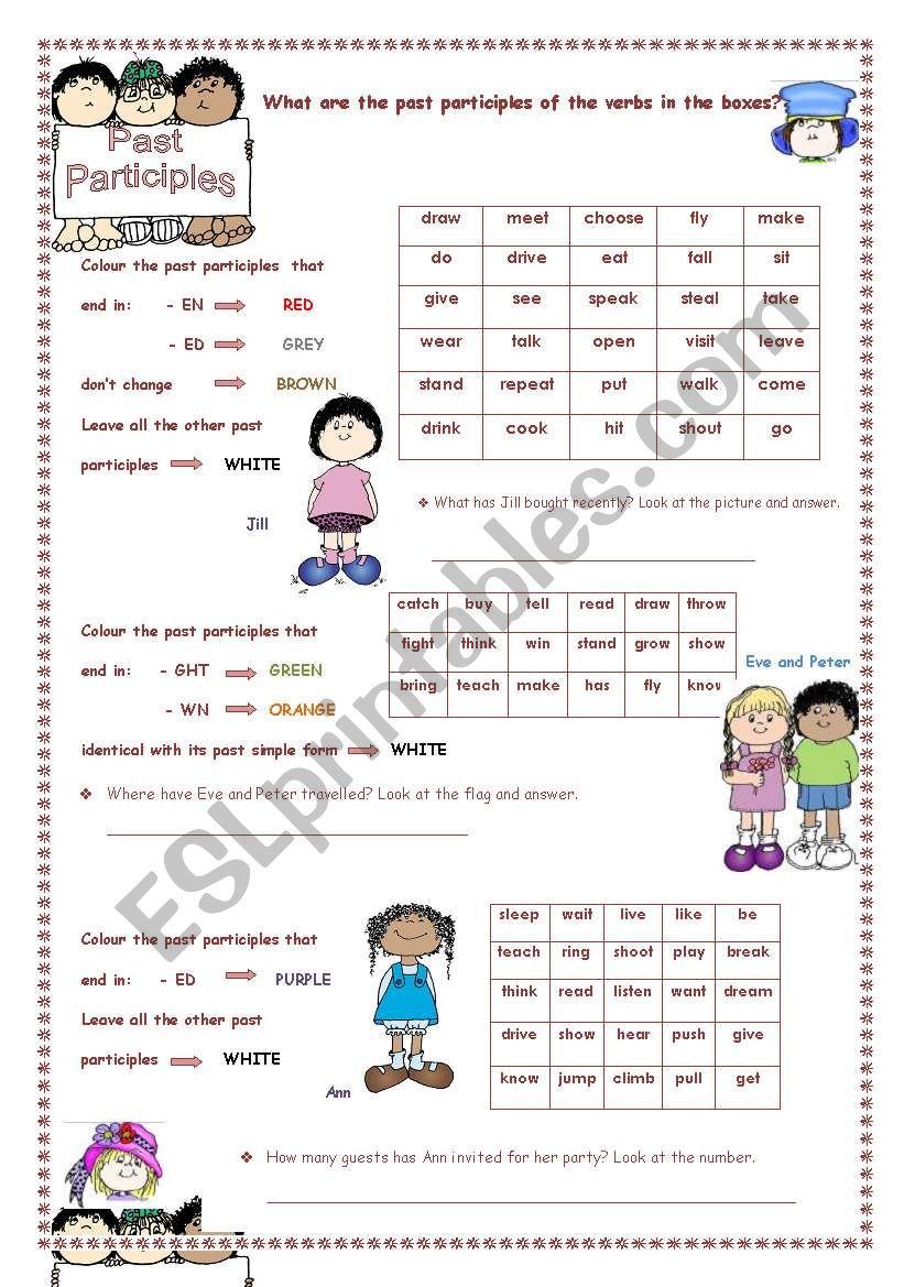 Past Participles Colouring worksheet