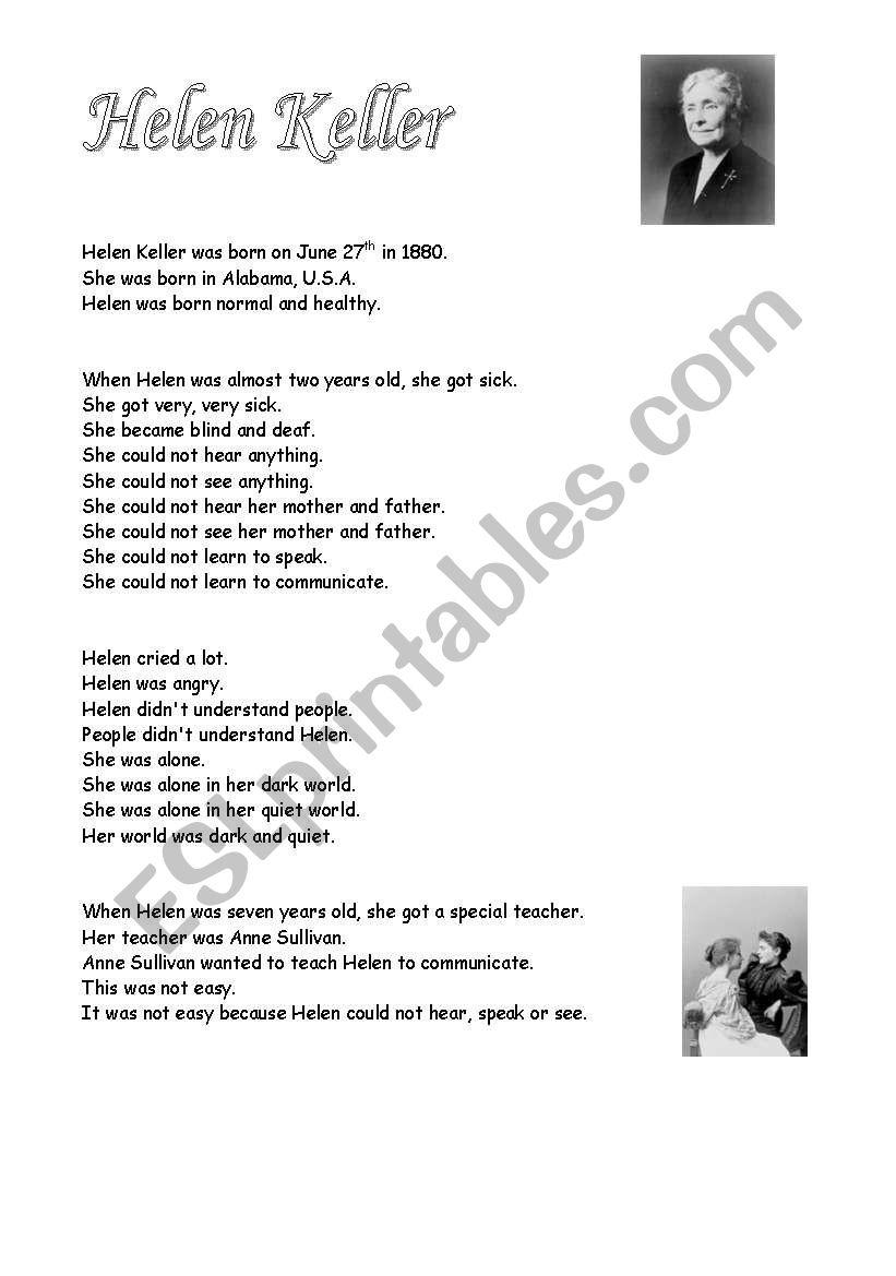 Worksheets Helen Keller Worksheets helen keller 7 pages esl worksheet by debbiem worksheet