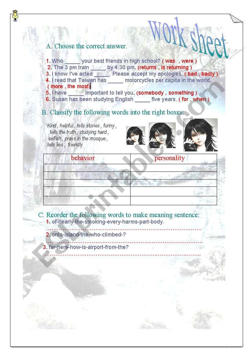 grammer worksheet worksheet