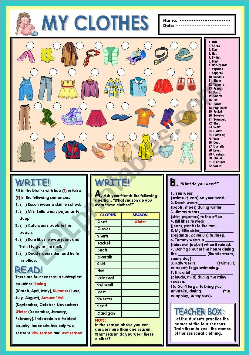 My clothes worksheet