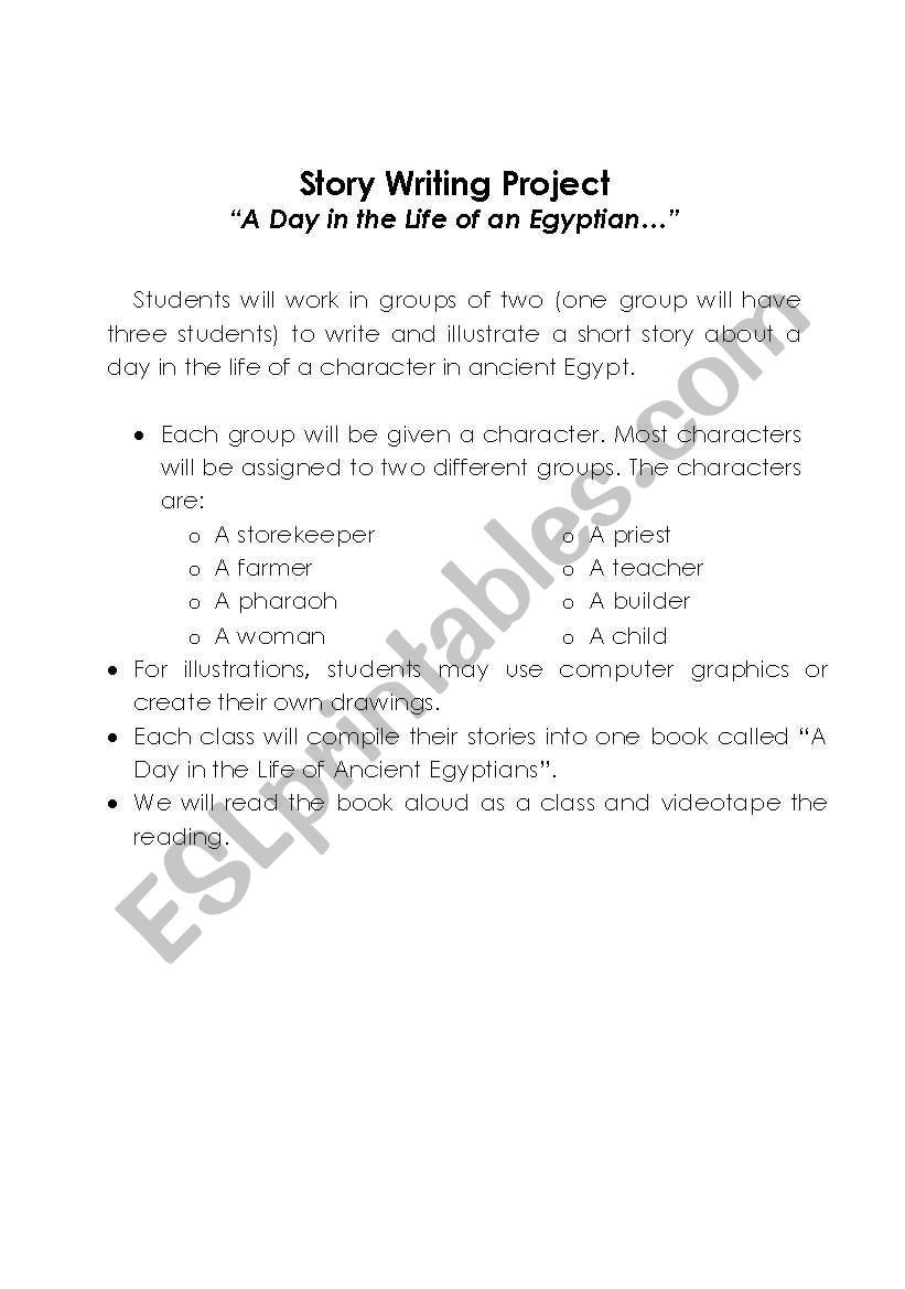 Story Writing Project Outline -- A Day in the Life of an Ancient Egyptian