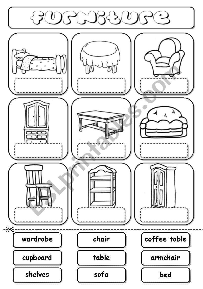 Furniture (match) worksheet