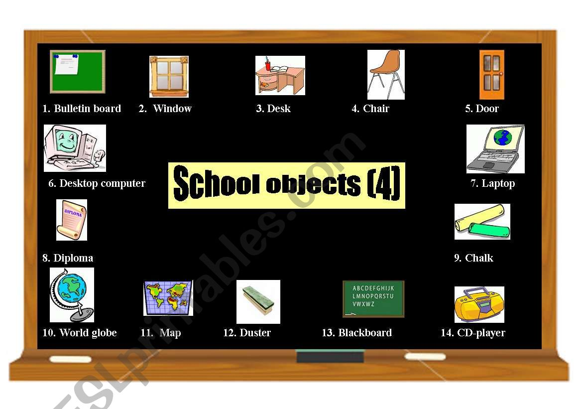 School objects pictionary (4) 2 pages (coloured and black & white)