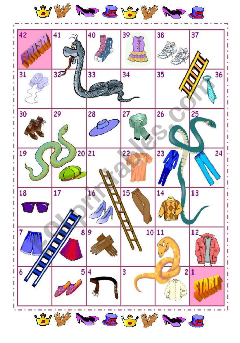 clothes snakes and ladders worksheet