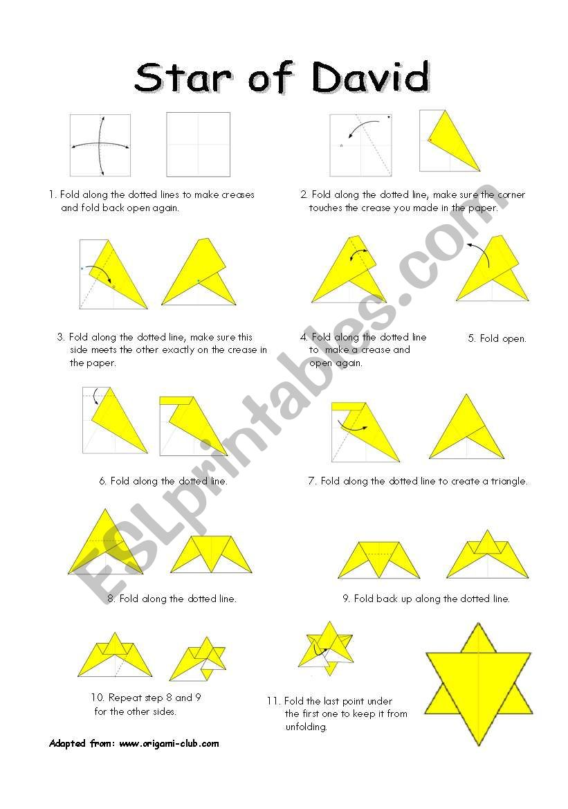 english worksheets star of david reading and origami. Black Bedroom Furniture Sets. Home Design Ideas