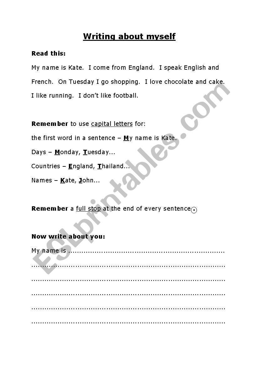 Writing about myself worksheet