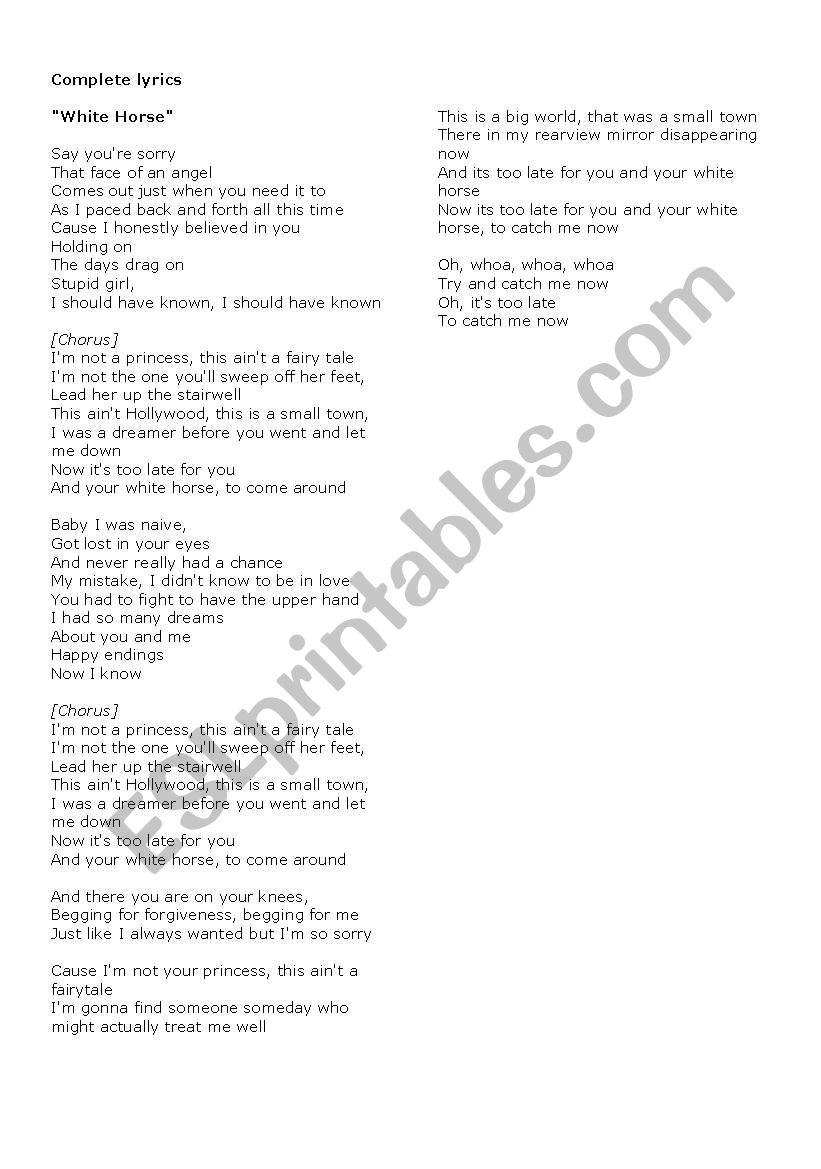 White Horse Esl Worksheet By Cris M