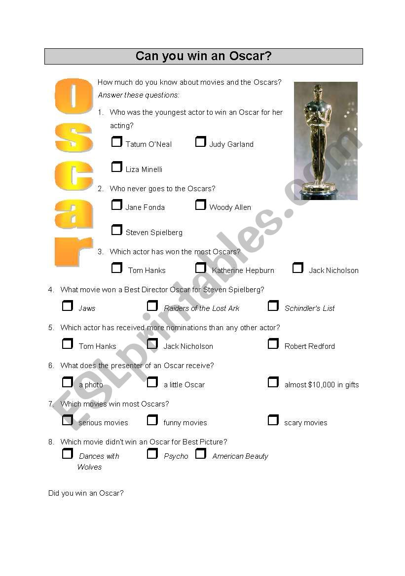 Quiz - Can you win an Oscar? worksheet