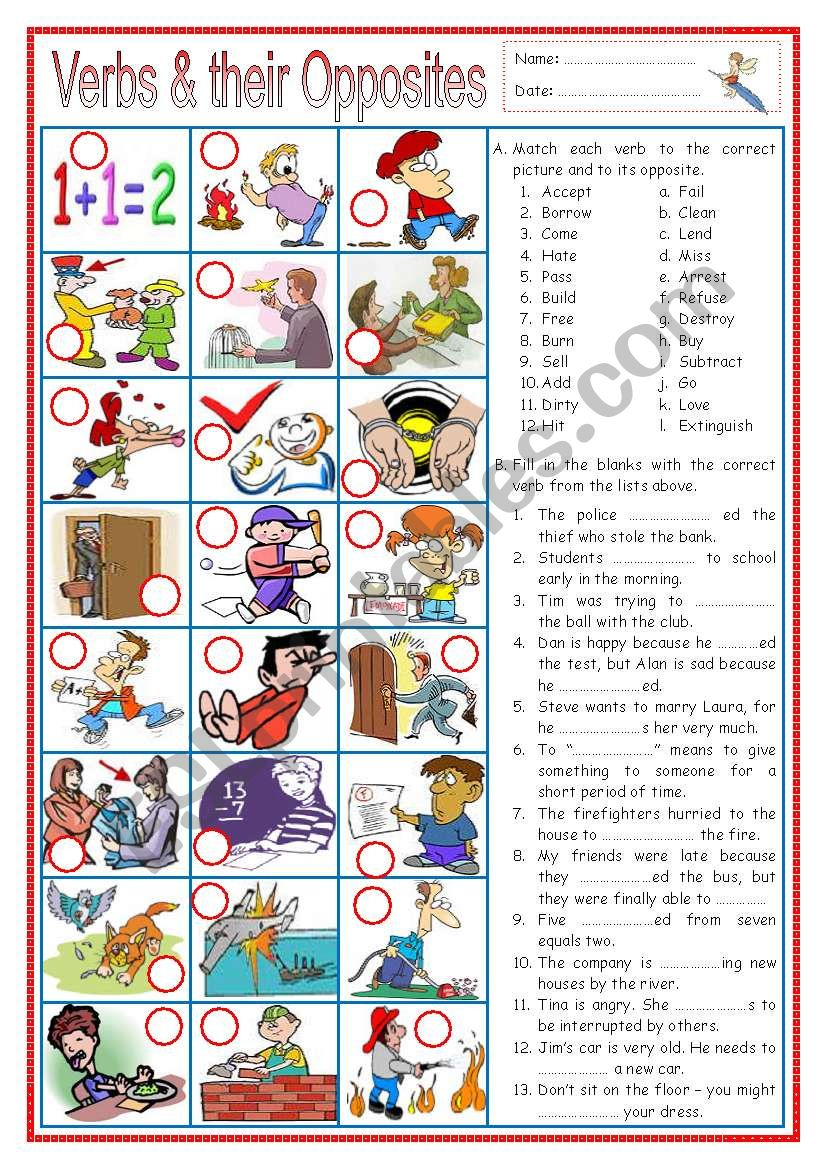 Verbs and their Opposites 1 (with senteces)
