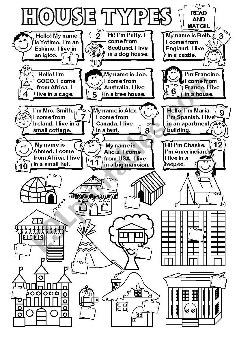 House types worksheet