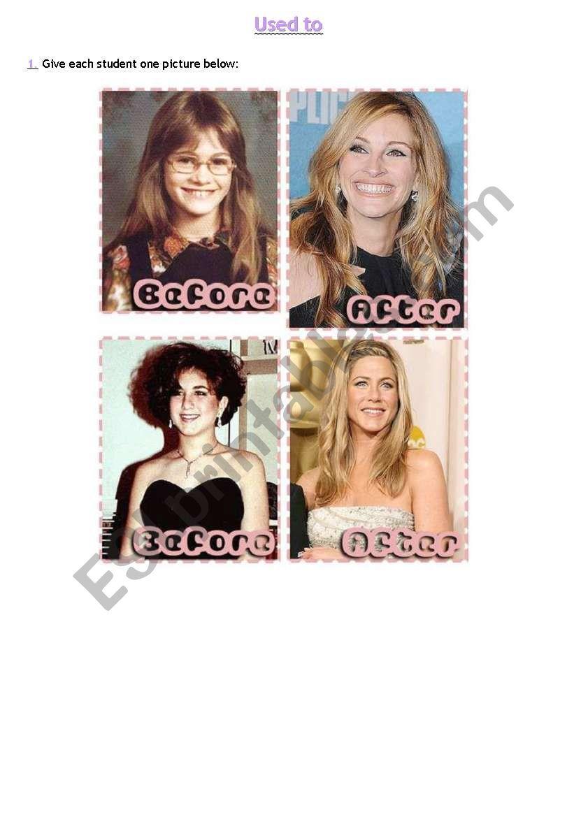 Used to: Celebrities worksheet