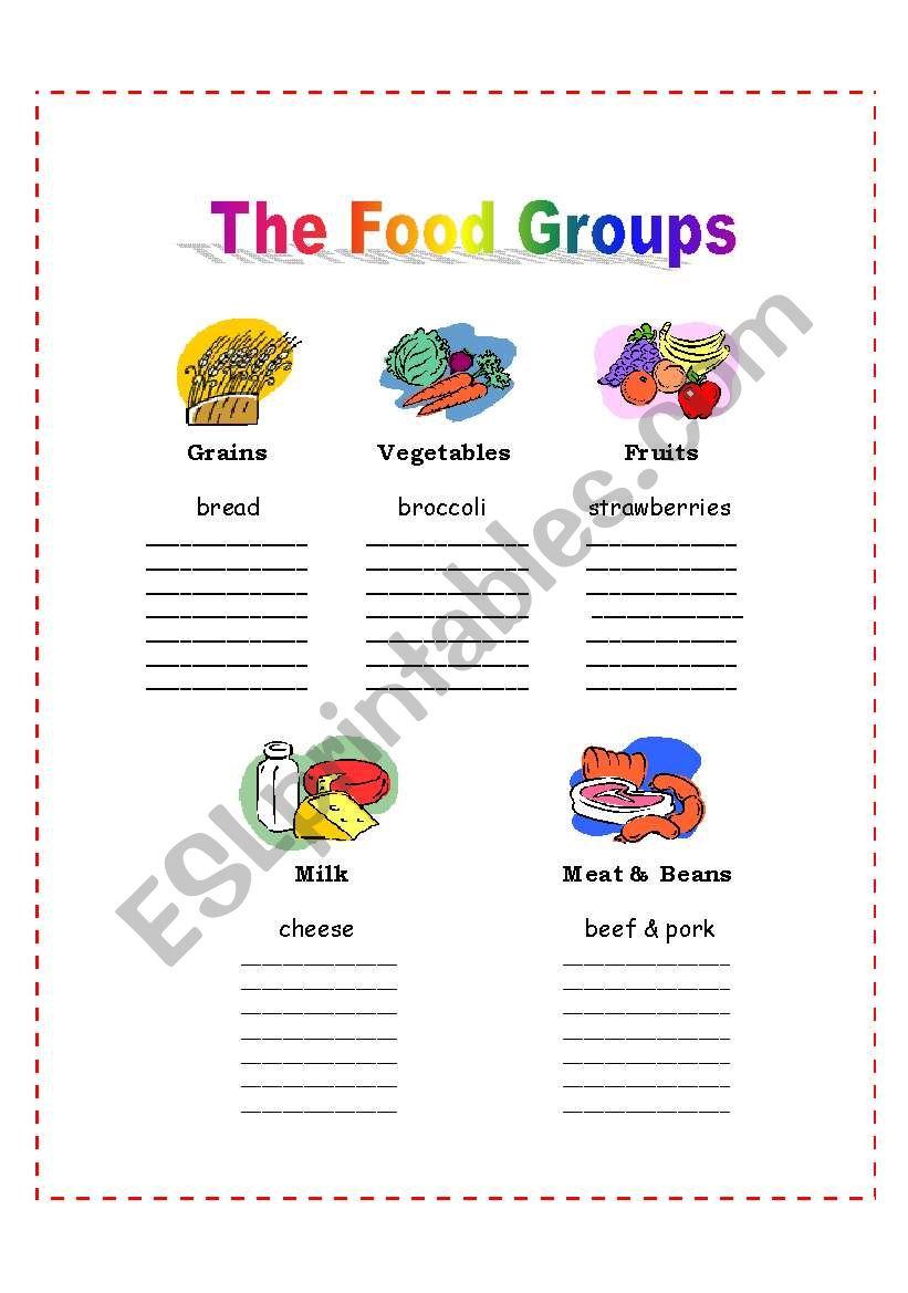 the 5 food groups esl worksheet by nalawood. Black Bedroom Furniture Sets. Home Design Ideas