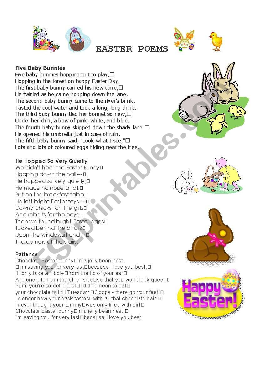 Easter poems worksheet