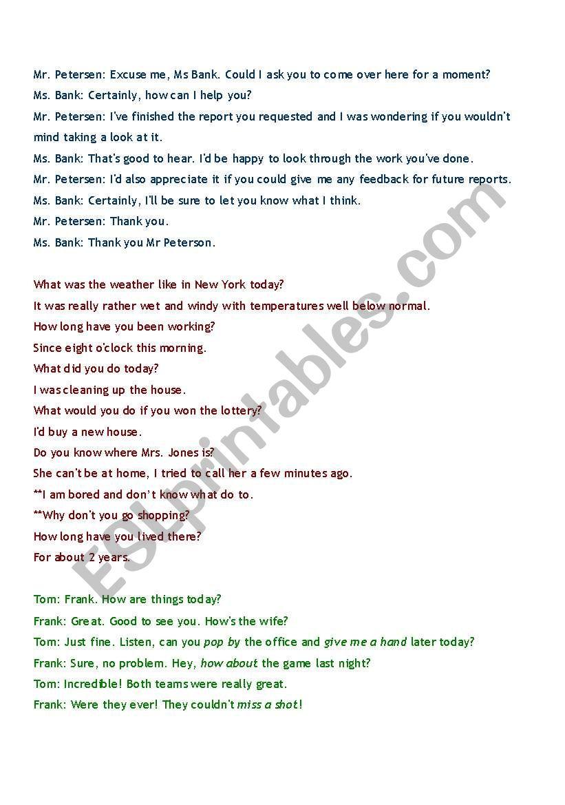 conversations for adult ESL worksheet