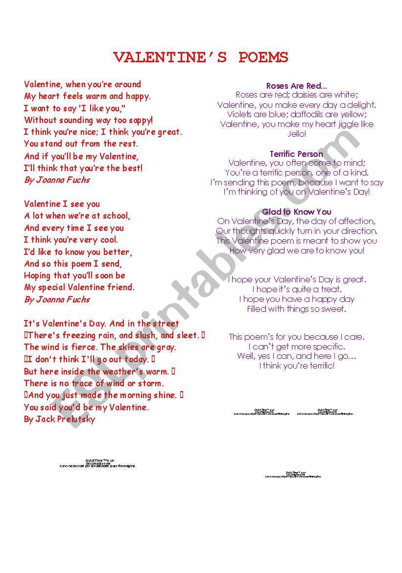 Valentine´s Poems worksheet