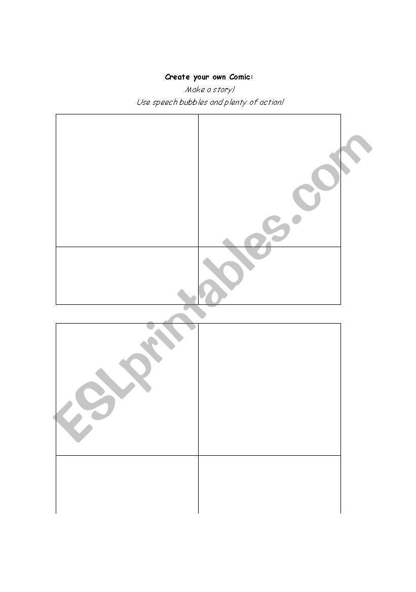 Create a Comic worksheet