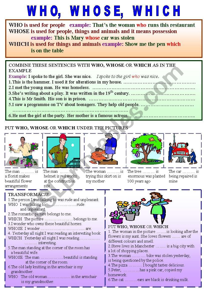 who, whose, which worksheet