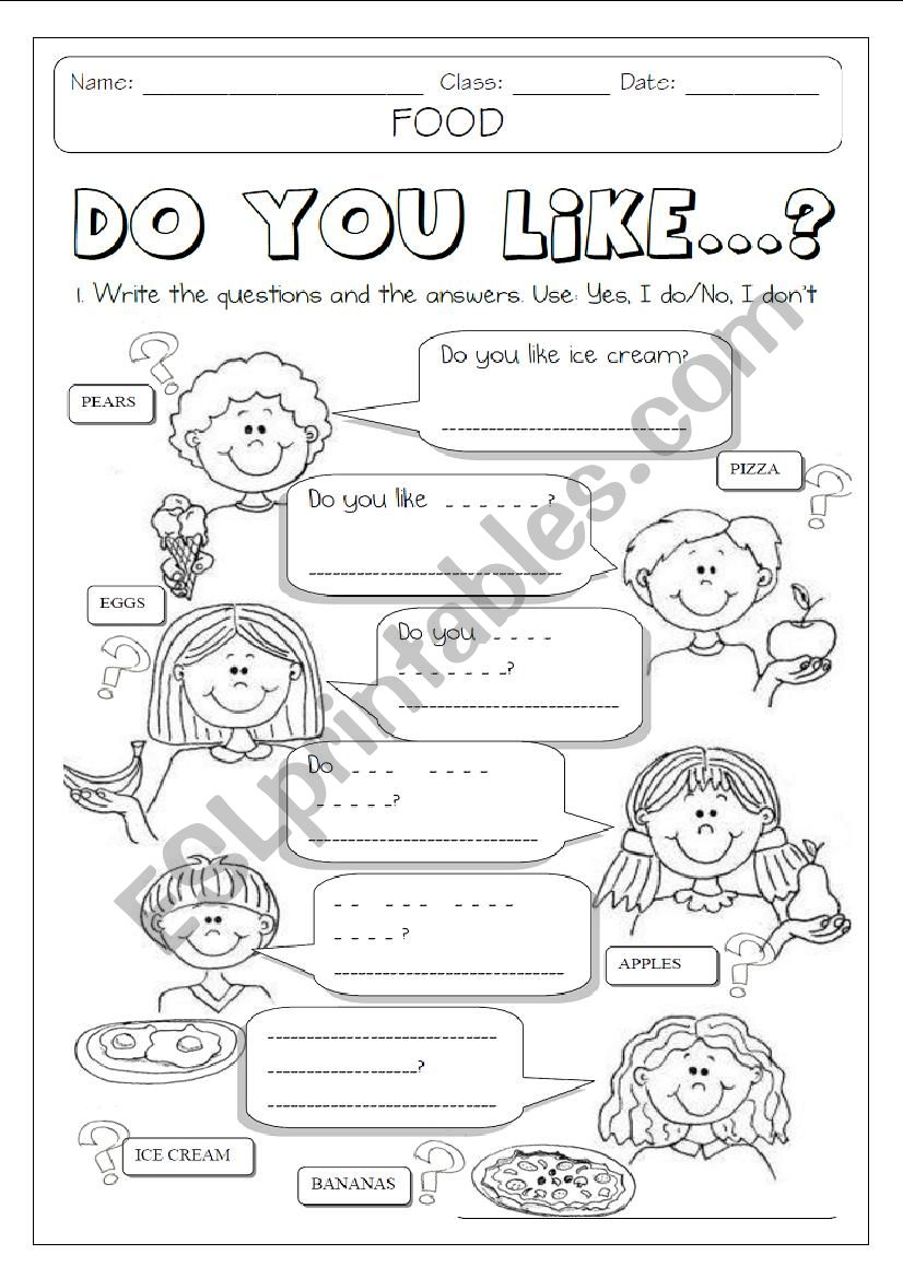 DO YOU LIKE + FOOD  1/2 worksheet