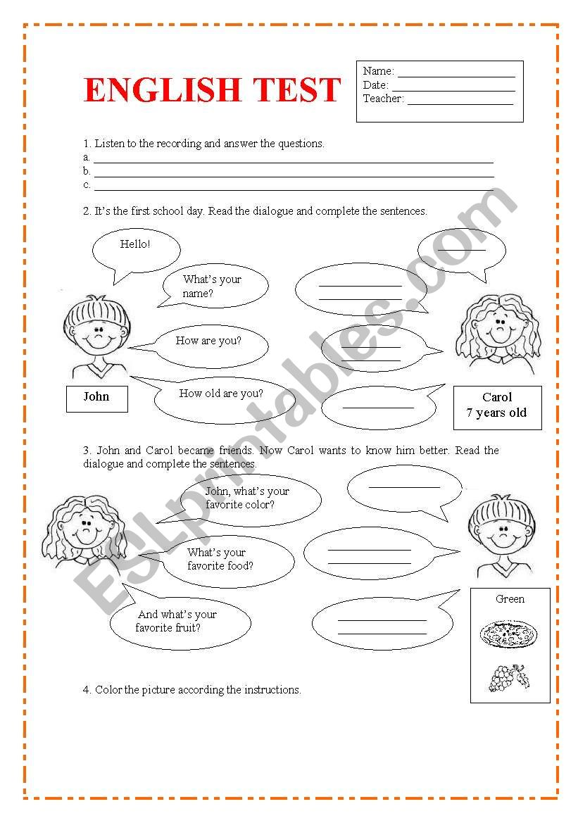 Personnal information, color and school objects. 2 pages