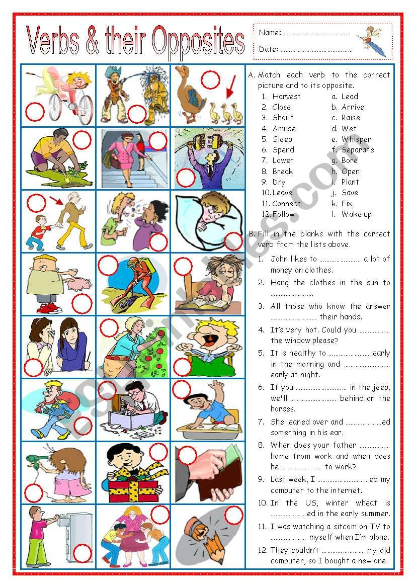 Verbs and their Opposites 2 (with sentences)