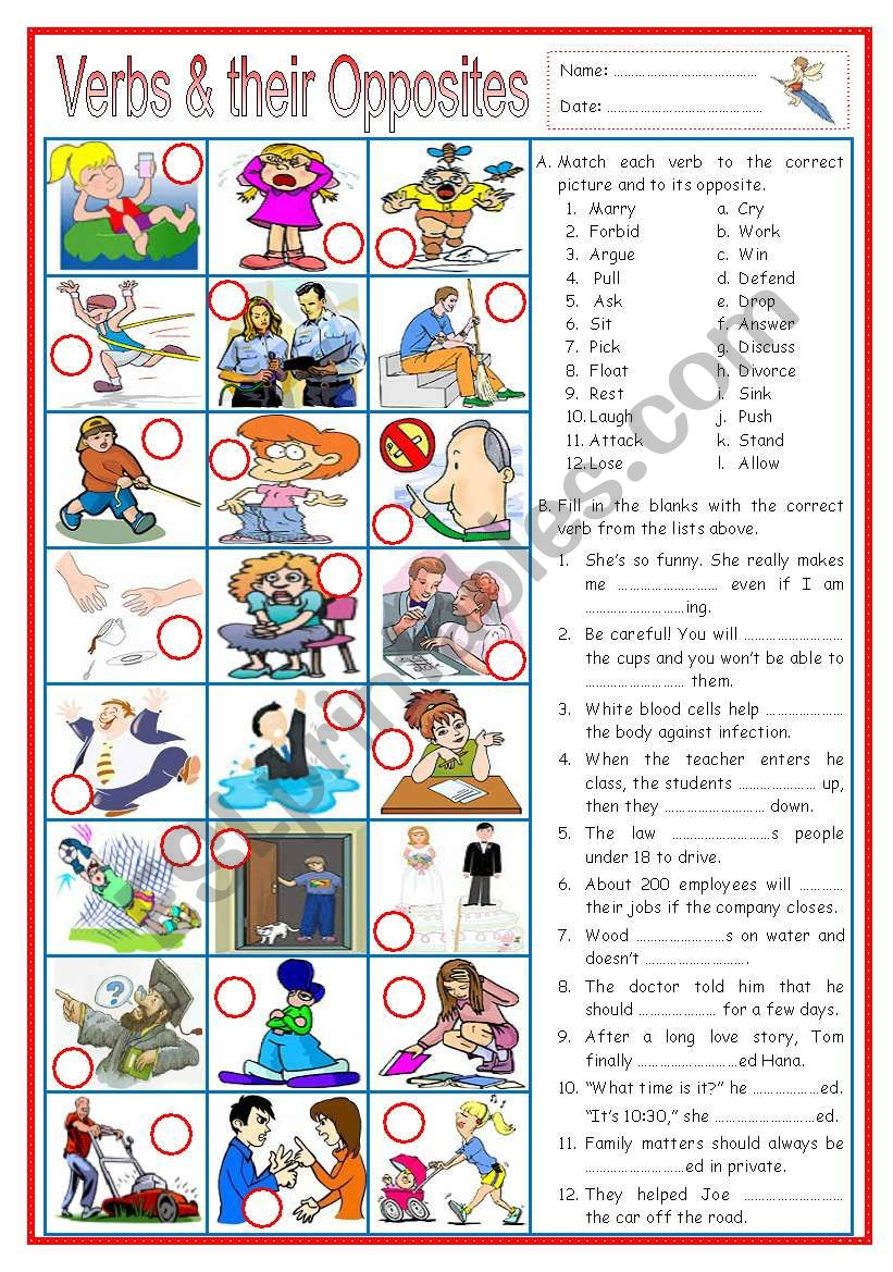 Verbs and their Opposites 3 (with sentences)