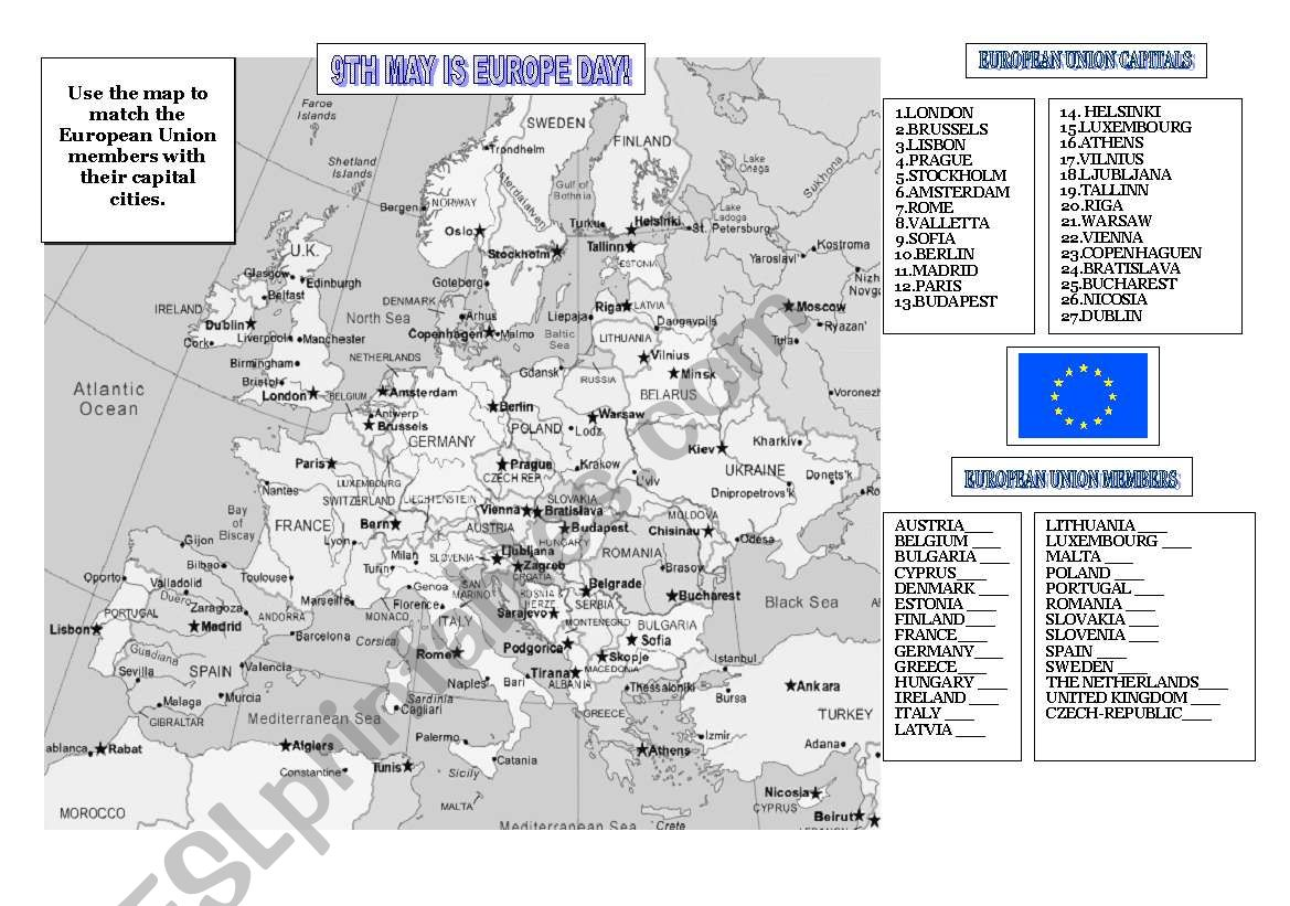 9TH MAY IS EUROPE DAY! worksheet