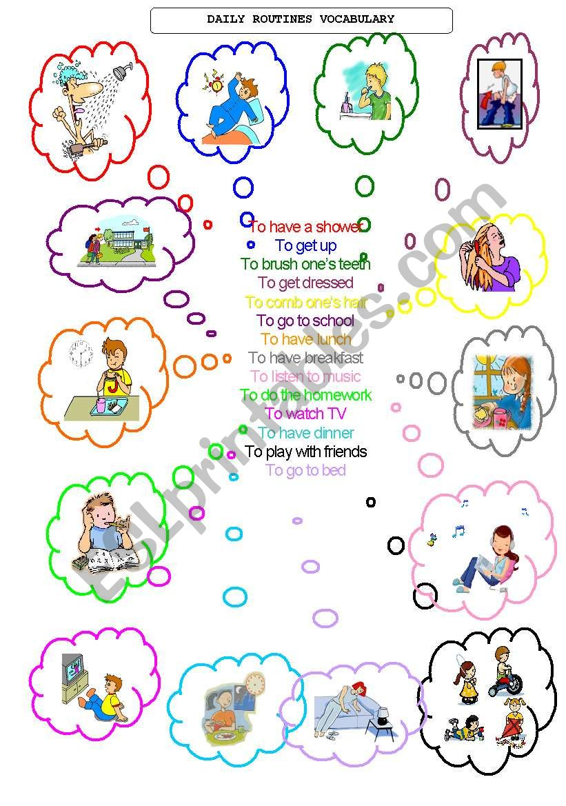 daily routines vocabulary worksheet