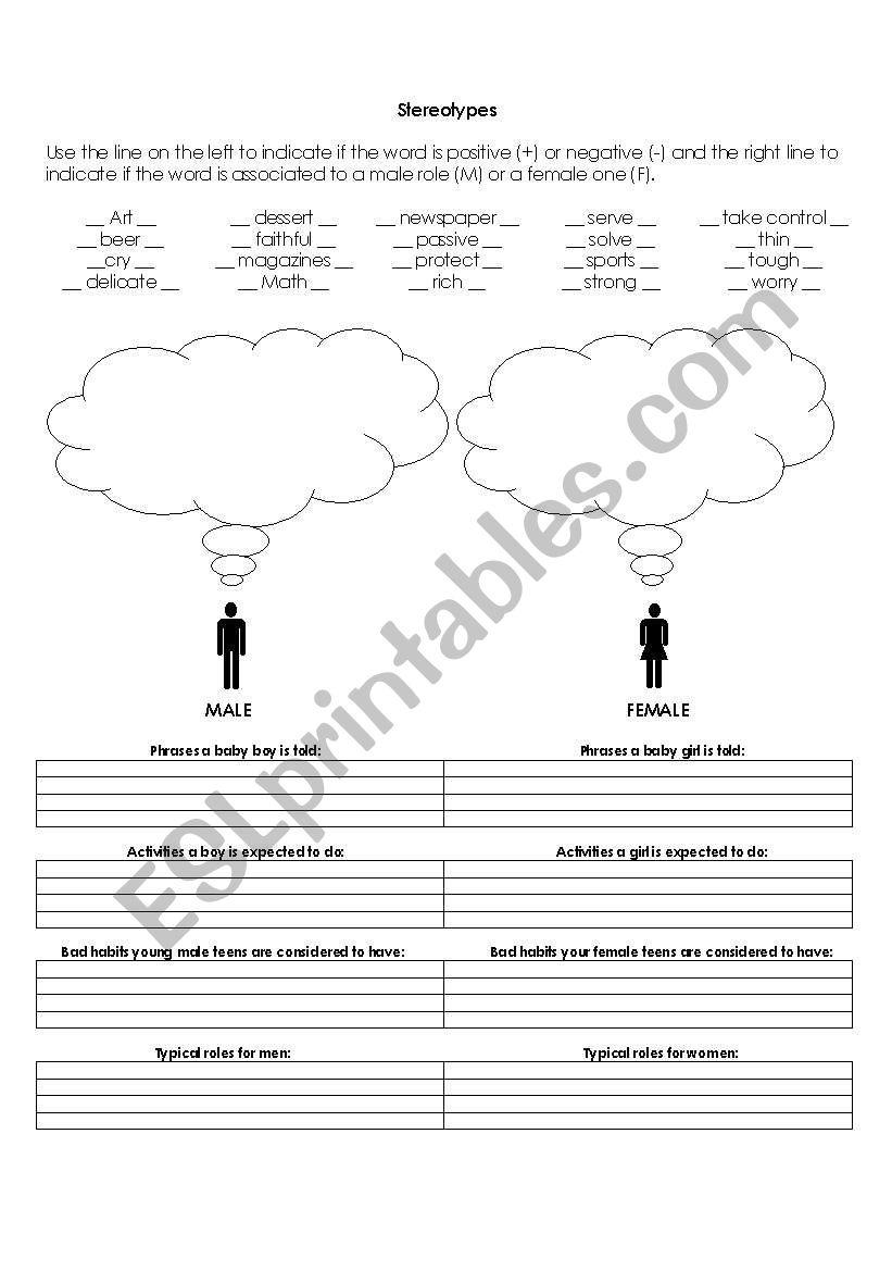 Gender Stereotypes worksheet