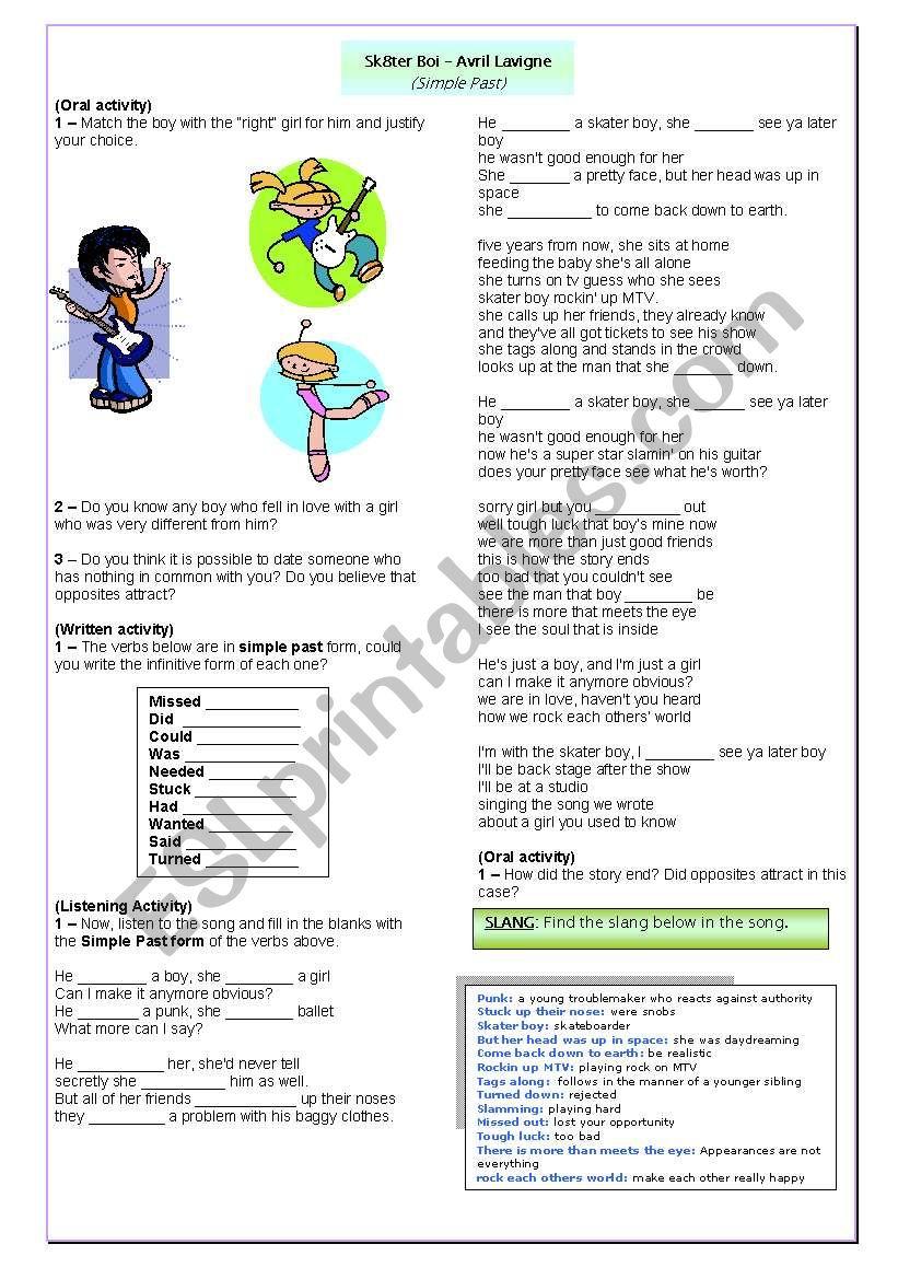 Song - Sk8ter Boy worksheet
