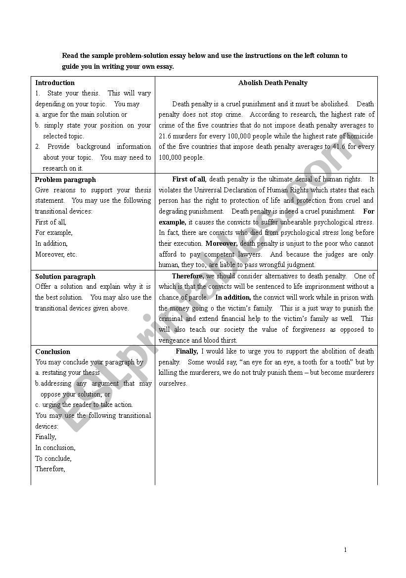 Problem Solution Essay Worksheet