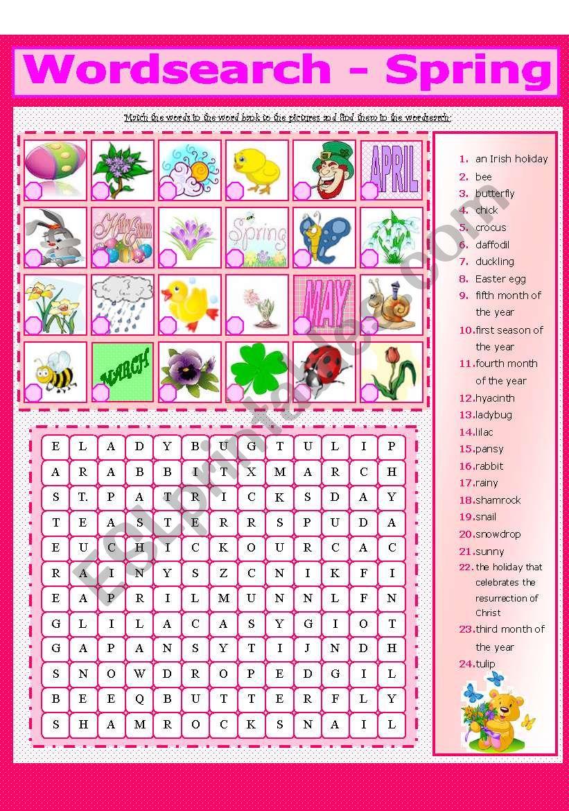 WORDSEARCH - SPRING (2 - 8) worksheet