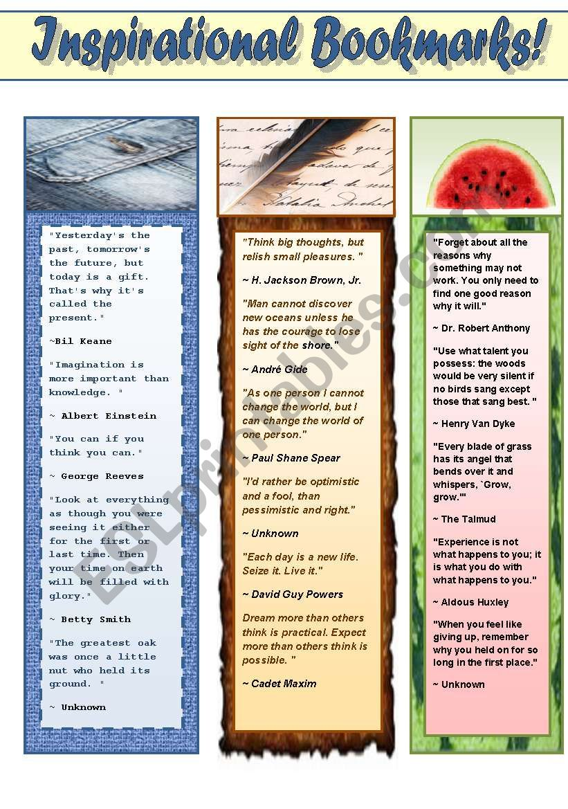 INSPIRATIONAL BOOKMARKS FOR ADULTS! (PART 2 OF BOOKMARKS FOR ADUILTS) 2 pages