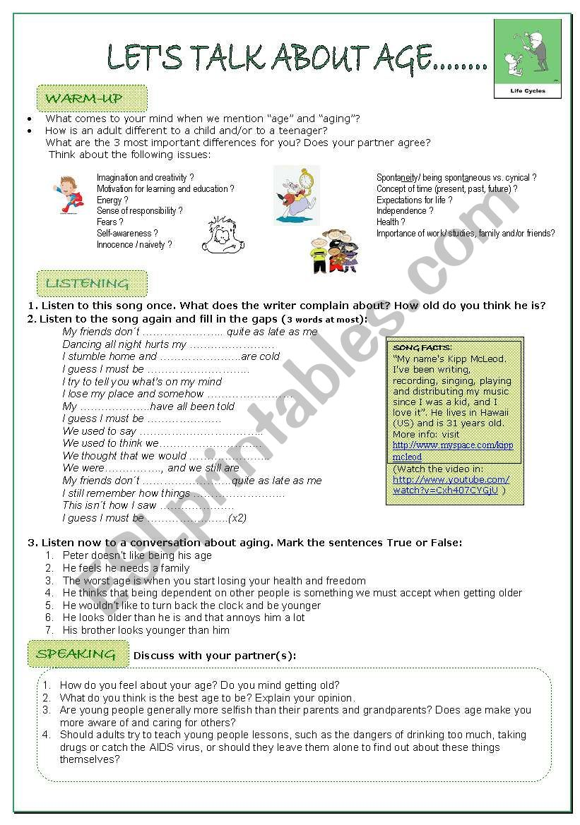 LISTENING AND SPEAKING LESSON ON AGE for adults.KEY AND LINKS provided