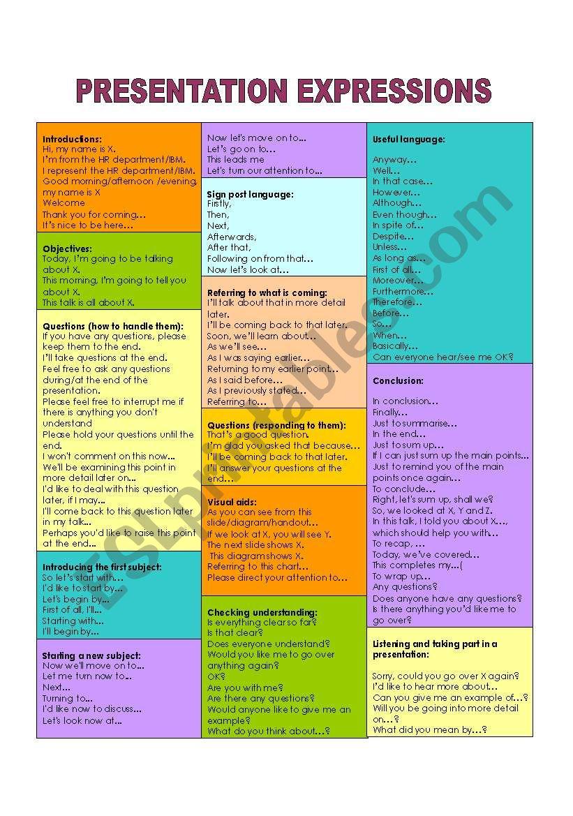 Presentation expressions worksheet