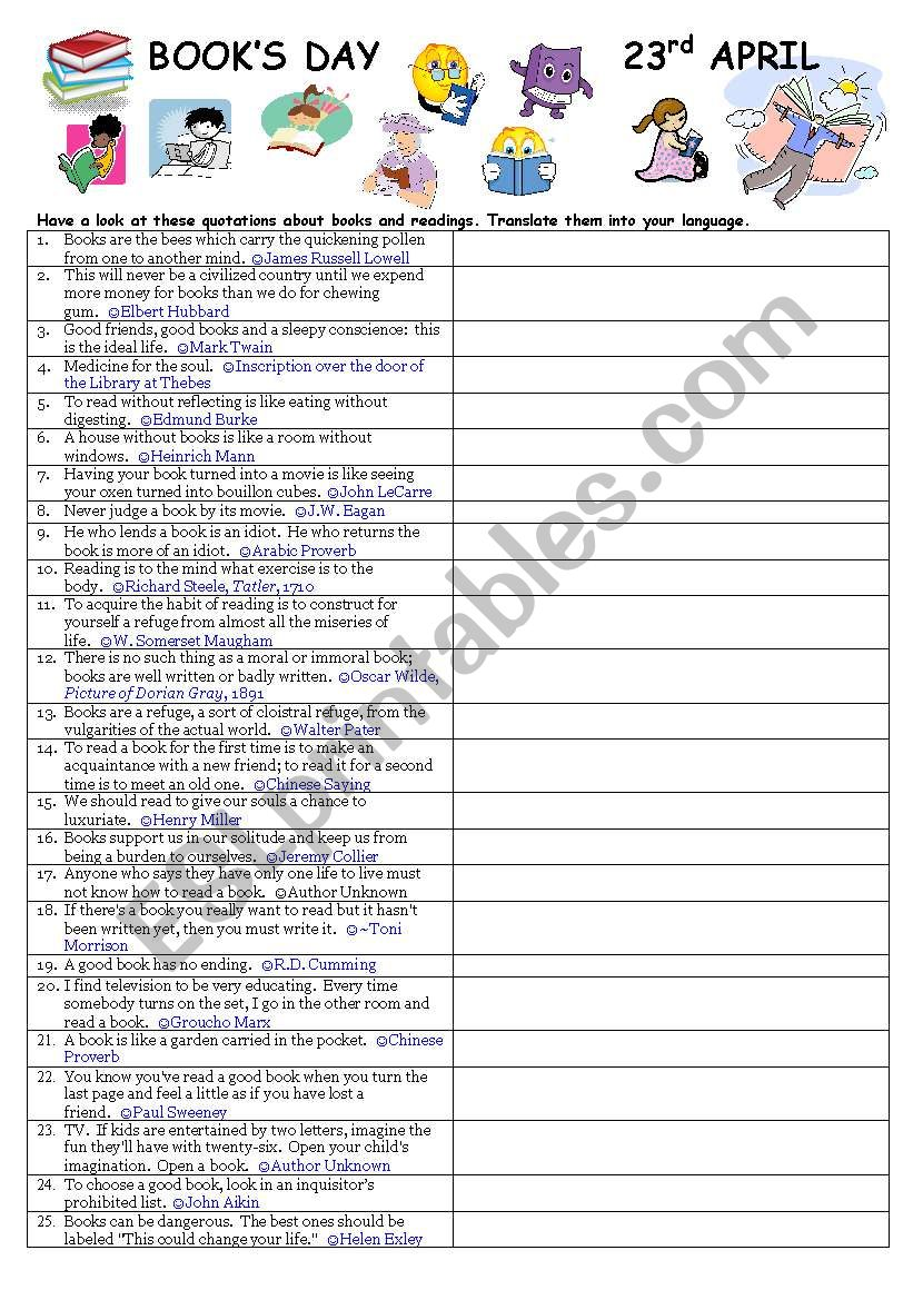 Book´s Day worksheet