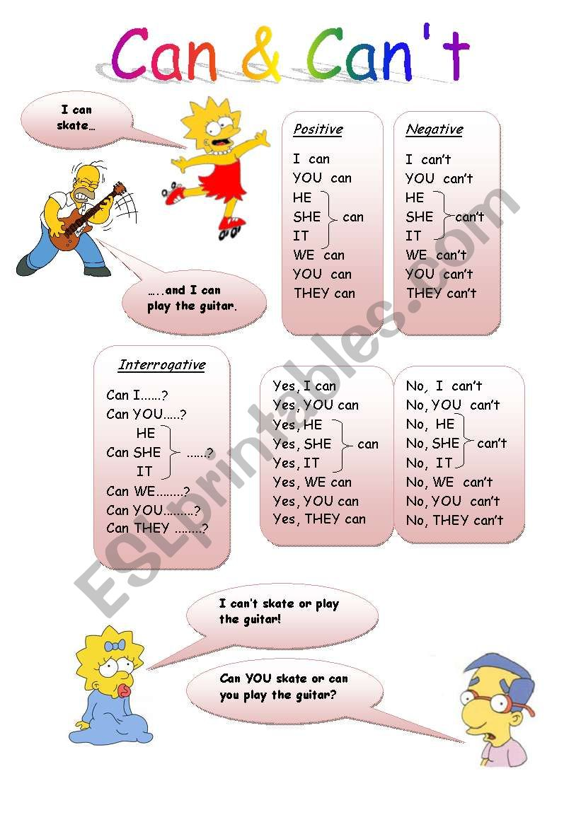 Can & Can´t  worksheet