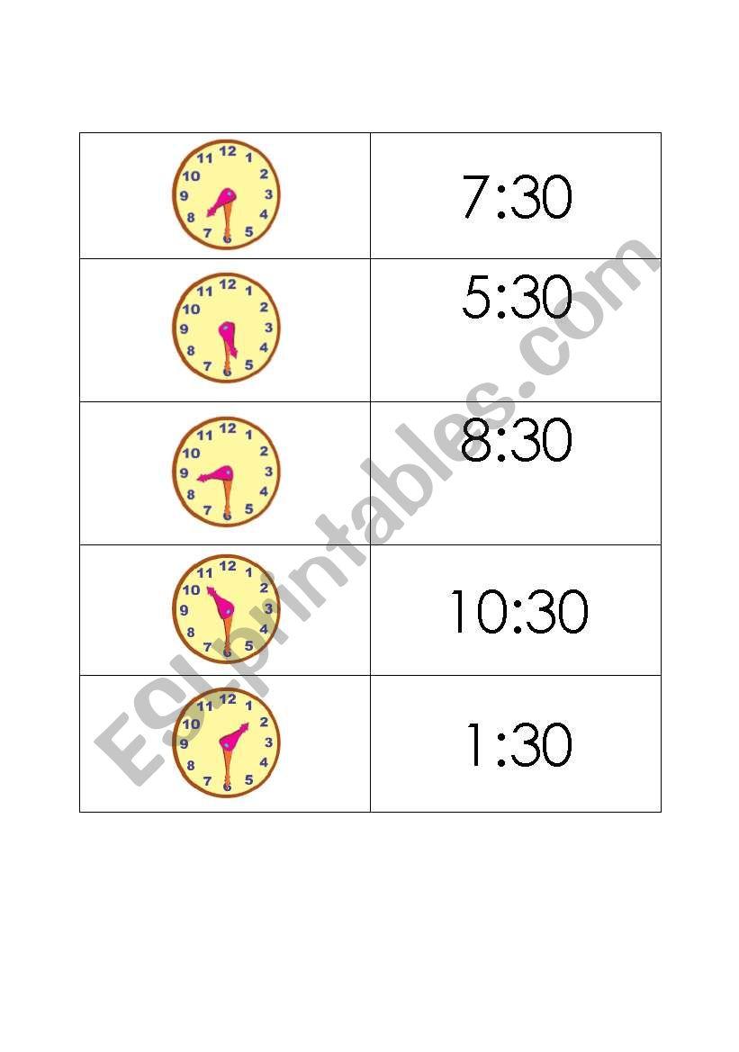 time memory worksheet