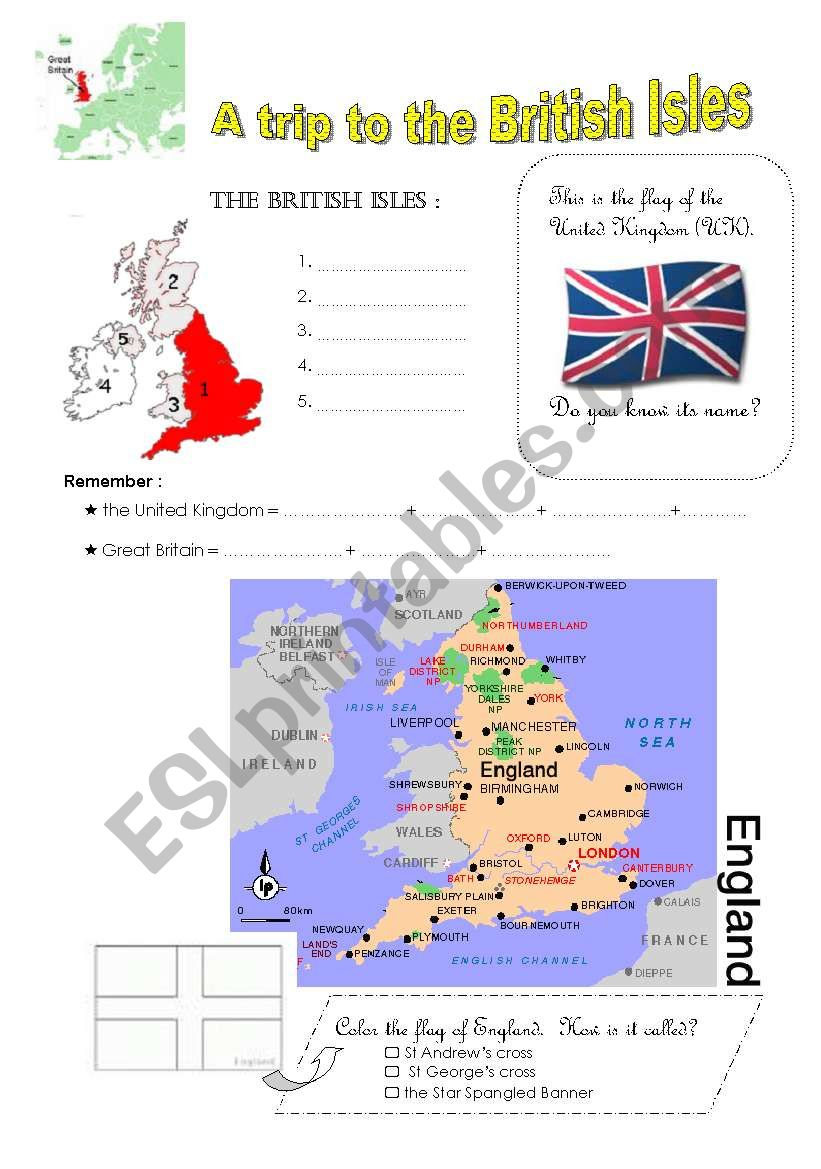 a trip to the BRITISH ISLES worksheet