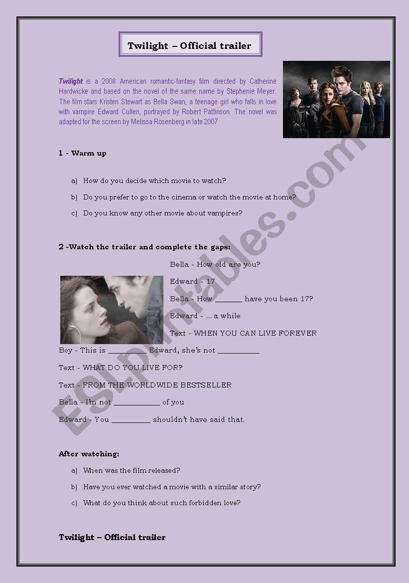 Twilight Trailer worksheet
