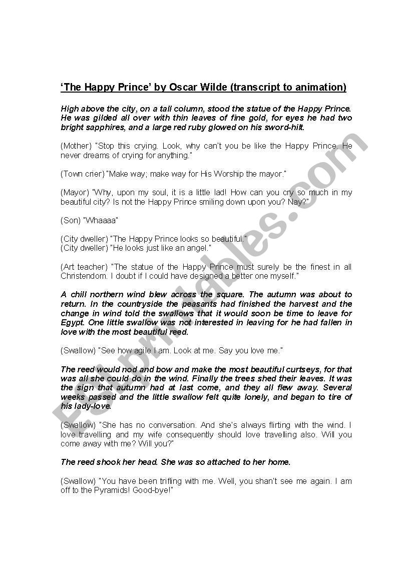 English Worksheets Transcript To Happy Prince Animation