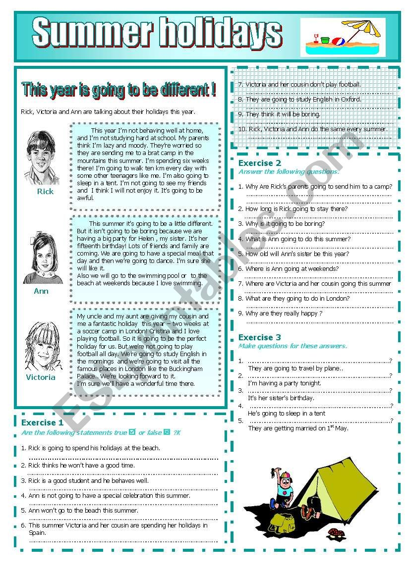 Summer holidays : READING AND GRAMMAR Series Nº 8