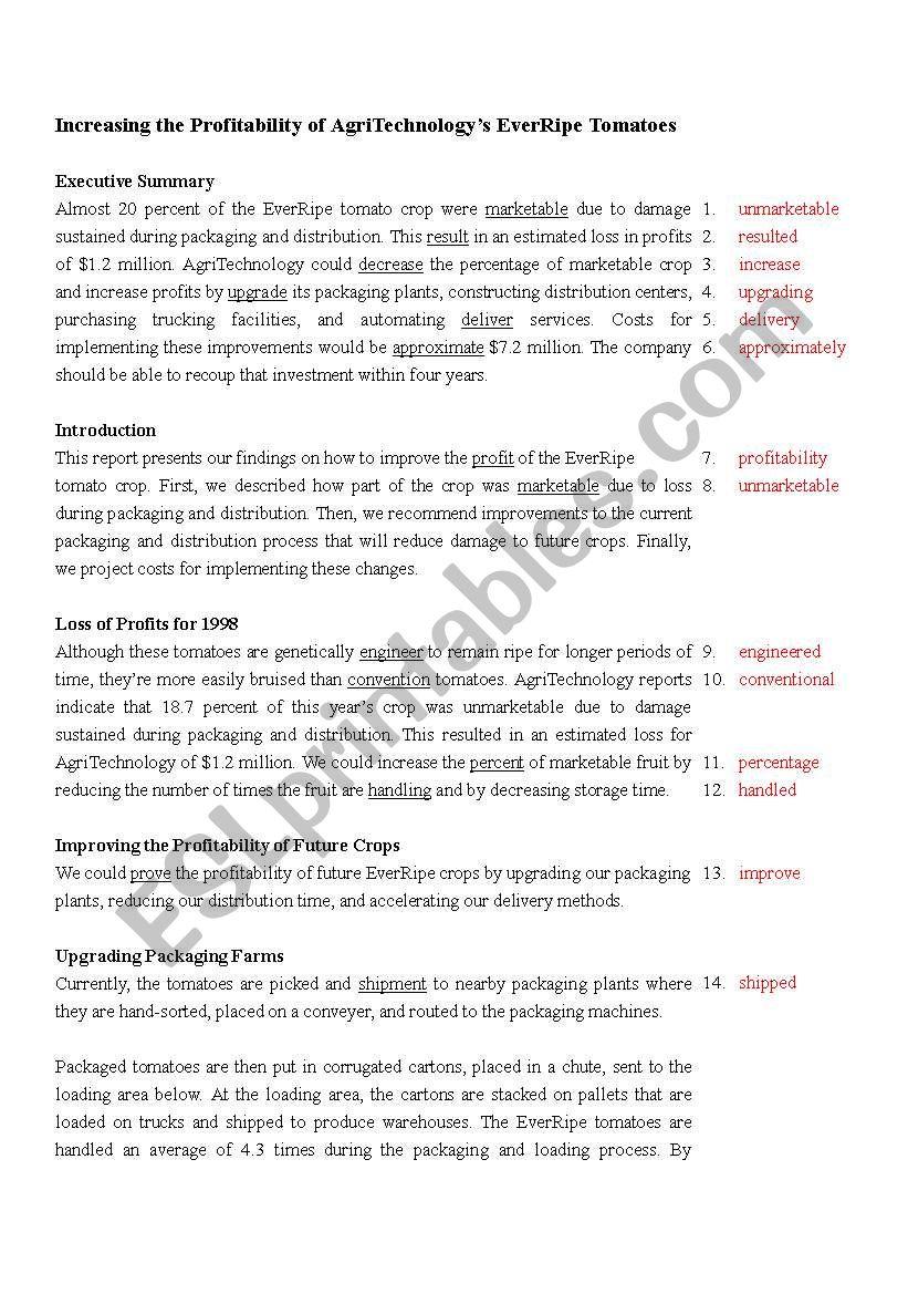 Proofreading Exercise_6 (key) worksheet