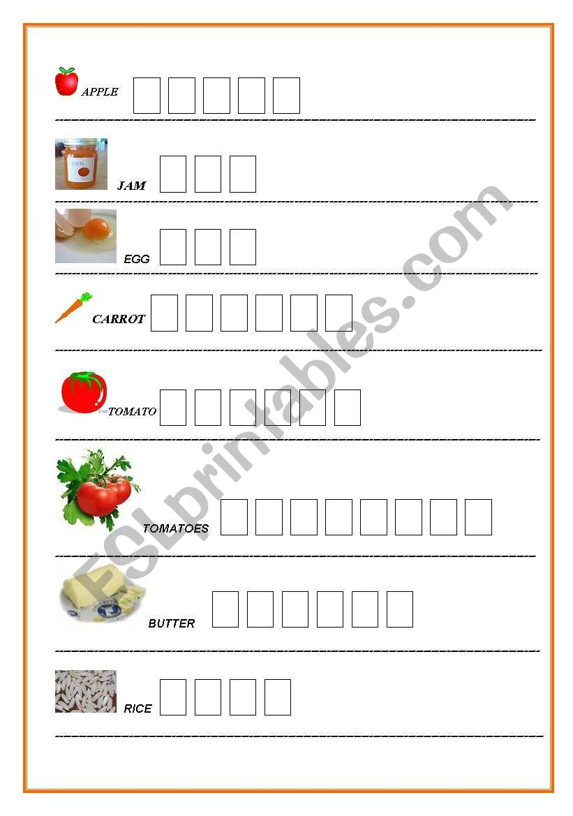 FOOD. Writing exercise for dyslexic learners (or students ...