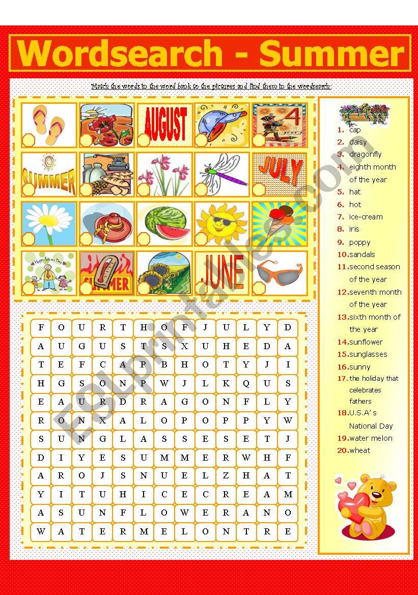 WORDSEARCH - SUMMER (4 - 8) worksheet
