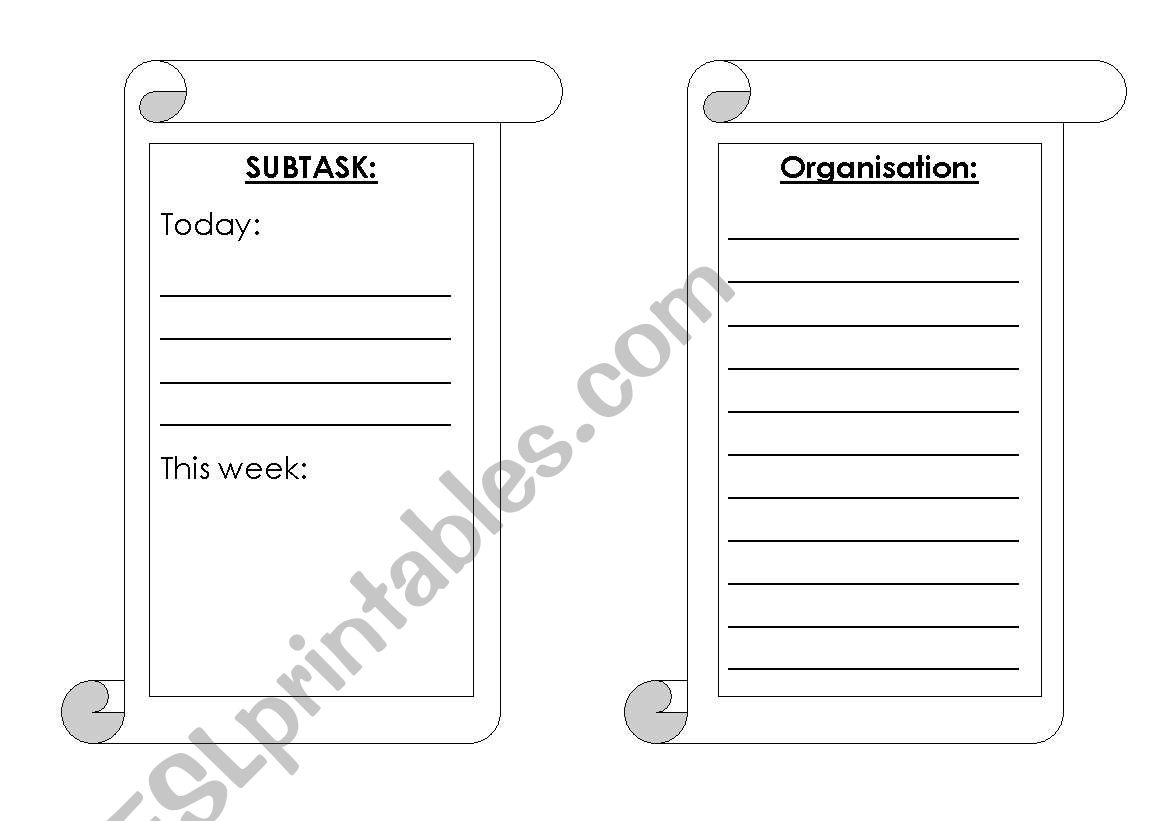 Organisation and subtask sheet