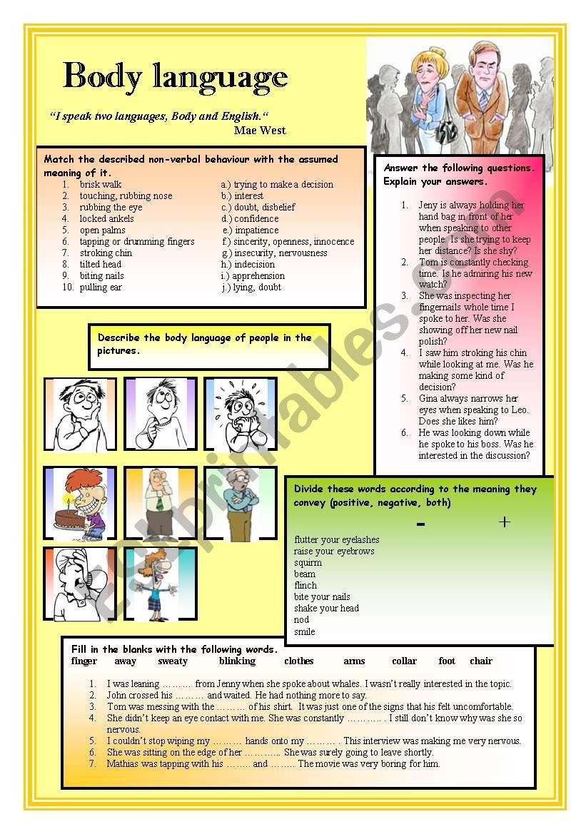 Body Language Esl Worksheet By Ciortea
