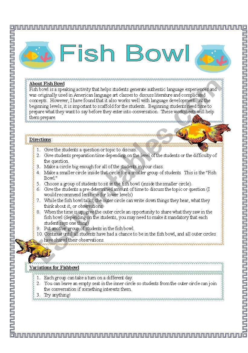 Fish Bowl Instructions Esl Worksheet By Suzanne95212