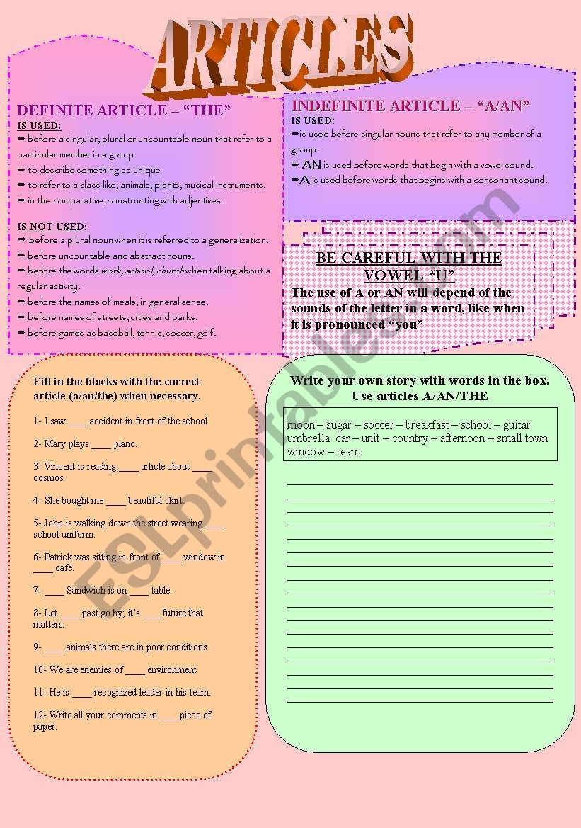Articles - A/AN/THE worksheet